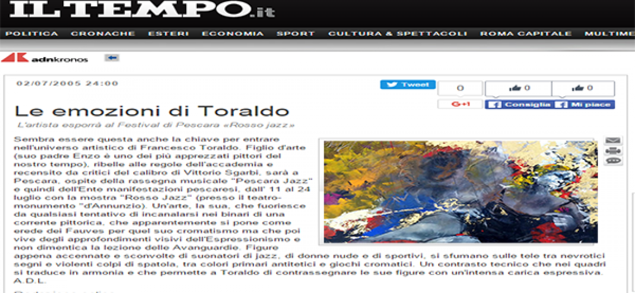 The emotions of Toraldo The artist exhibits at Pescara 'Red Jazz Festival »